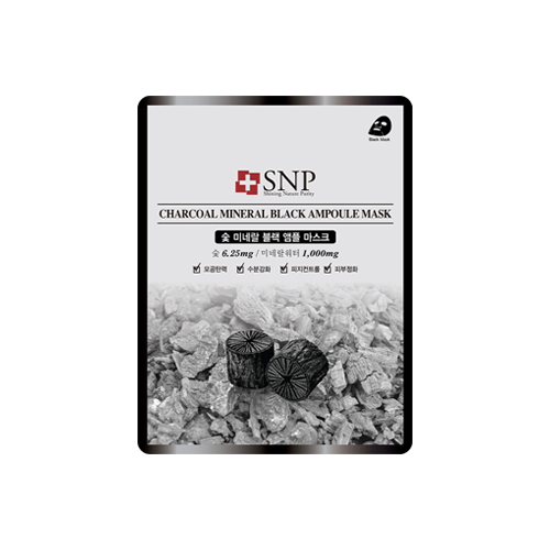 What is it?   The SNP Charcoal Mineral Black Ampoule Mask contains mineral water and charcoal powder to control sebum, tighten pores, as well as purify and moisturise the skin.   How to use?   1. After cleansing, tone the skin.  2. Apply mask.  3. Leave on for 15 to 20 minutes.  4. Remove mask and pat any remaining essence into skin.