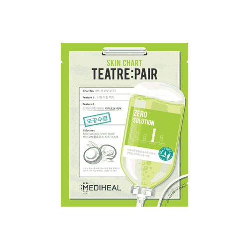 What is it?   The Mediheal Zero Solution Skin Chart Teatre:Pair Sheet Mask contains tea tree, green tea, and aloe vera extracts to intensively moisturise the skin, as well as soothe and calm inflammation.   How to use?   1. After cleansing, tone the skin.  2. Apply mask.  3. Leave on for 15 to 20 minutes.  4. Remove mask and pat any remaining essence into skin.