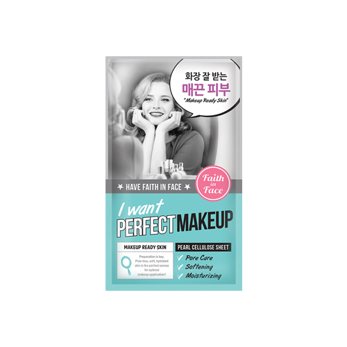 What is it?   The Faith in Face I Want Perfect Makeup Sheet Mask contains AHA Fruits Complex and lavender extract to purify pores and soften the skin, preparing it for makeup application.   How to use?   1. After cleansing, tone the skin.  2. Remove the protective film and apply mask.  3. Leave on for 20 to 30 minutes.  4. Remove mask and pat any remaining essence into skin.