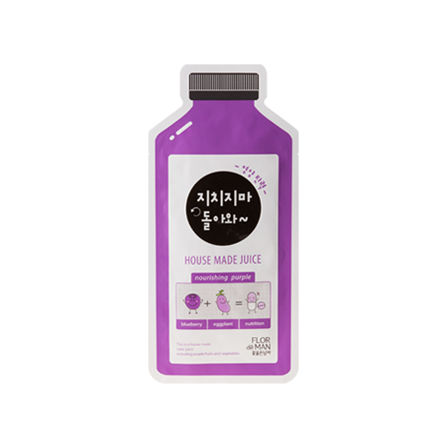 What is it?   The Flor de Man Housemade Juice Nourishing Purple Sheet Mask contains eggplant, blueberry and grape extracts to restore skin elasticity and intensively nourish tired skin.   How to use?   1. After cleansing, tone the skin.  2. Apply mask.  3. Leave on for 10 to 20 minutes.  4. Remove mask and pat any remaining essence into skin.