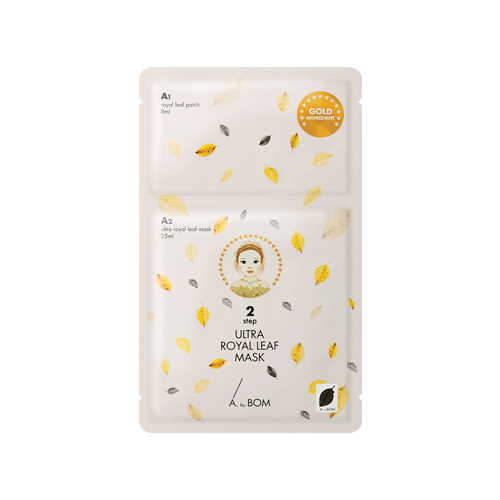 What is it?   The A.by Bom Ultra Royal Leaf Mask is a luxurious 2-step sheet mask that contains gold extract as well as a variety of plant extracts to hydrate and reduce signs of ageing.   How to use?   1. After cleansing, apply the Step 1 Royal Leaf Patches on the cheeks and under eye area as needed.  3. Apply the Step 2 mask on top and leave on for 10 to 20 minutes.  4. Remove the mask and patches and pat any remaining essence into skin.