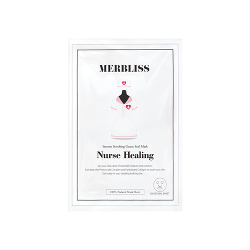 What is it?   The Merbliss Nurse Healing Mask is enriched with phytoncide complex, hydrolysed collagen, as well as rosemary and peppermint leaf extracts to soothe tired and sensitive skin.   How to use?   1. After cleansing, tone the skin.  2. Apply mask.  3. Leave on for 15 to 20 minutes.  4. Remove mask and pat any remaining essence into skin.