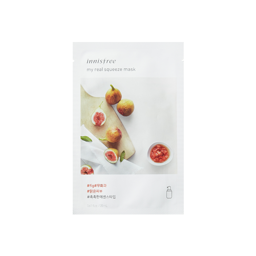 What is it?   The Innisfree My Real Squeeze Fig Mask is enriched with rich vitamins thoroughly squeezed from figs to help brighten skin as well as replenish moisture.   How to use?   1. After cleansing, tone the skin.  2. Apply mask.  3. Leave on for 10 to 20 minutes.  4. Remove mask and pat any remaining essence into skin.