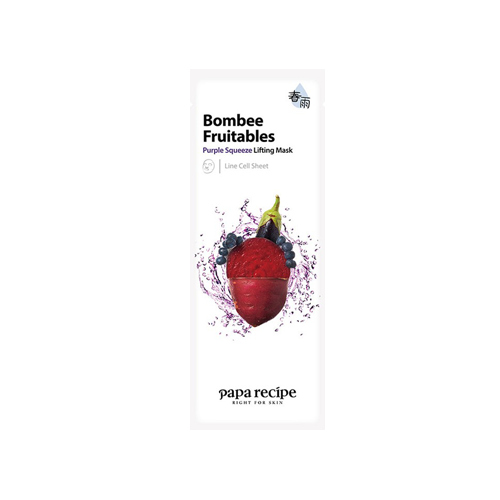What is it?   The Papa Recipe Bombee Fruitables Purple Squeeze Lifting Mask contains extracts from purple potato, eggplant, beet, blueberry and bilberry to firm and nourish ageing skin.   How to use?   1. After cleansing, tone the skin.  2. Apply mask.  3. Leave on for 10 to 20 minutes.  4. Remove mask and pat any remaining essence into skin.