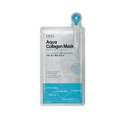 What is it?   The Dr. G Aqua Collagen Sheet Mask contains collagen peptides to plump the skin and reduce fine lines and wrinkles, while hyaluronic acid and aloe vera soothe and hydrate dry skin.   How to use?   1. After cleansing, tone the skin.  2. Apply mask.  3. Leave on for 15 to 20 minutes.  4. Remove mask and pat any remaining essence into skin.