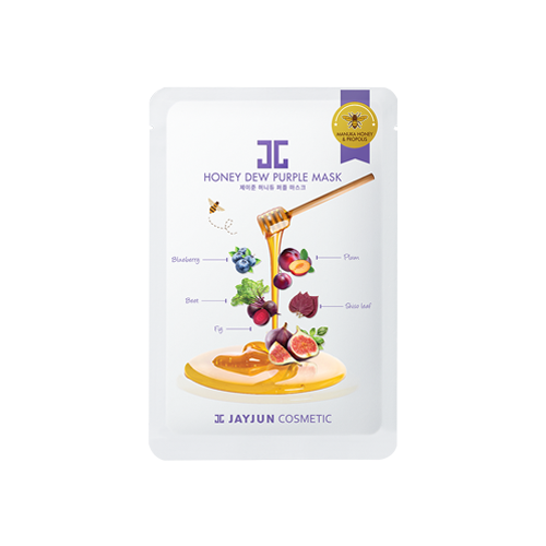 What is it?   The JayJun Honey Dew Purple Mask contains manuka honey and propolis to moisturise, as well as a complex of blueberry, beefsteak plant, fig, plum and beet extracts to improve elasticity.   How to use?   1. After cleansing, tone the skin.  2. Apply mask.  3. Leave on for 10 to 20 minutes.  4. Remove mask and pat any remaining essence into skin.