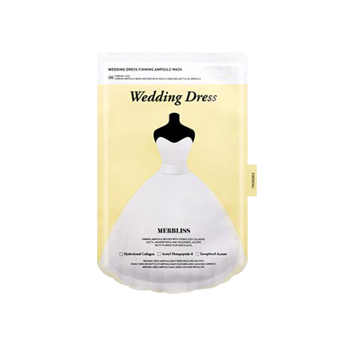 What is it?   The Merbliss Wedding Dress Firming Ampoule Mask contains hydrolyzed collagen, acetyl hexapeptide-8 and tocopheryl acetate to help firm the skin and improve elasticity.   How to use?   1. After cleansing, tone the skin.  2. Remove the protective film and apply mask.  3. Leave on for 15 to 20 minutes.  4. Remove mask and pat any remaining essence into skin.