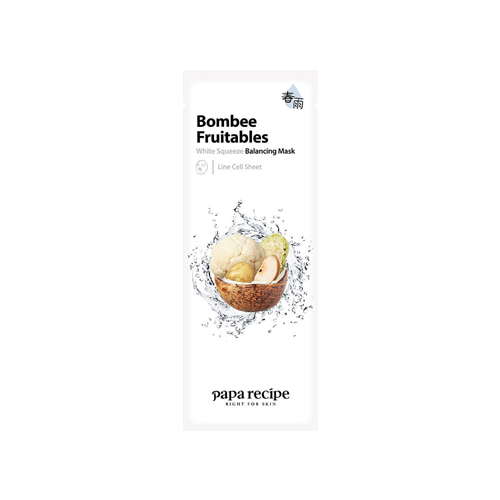 What is it?   The Papa Recipe Bombee Fruitables White Squeeze Balancing Mask contains a complex of cauliflower, potato, pear, coconut and cabbage extracts to balance and soothe damaged skin.   How to use?   1. After cleansing, tone the skin.  2. Apply mask.  3. Leave on for 10 to 20 minutes.  4. Remove mask and pat any remaining essence into skin.