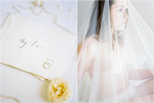 Diptych: Calligraphy on handmade paper (left), bridal boudoir portrait (right)