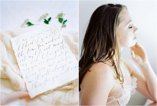 Diptych: handwritten love letter (left), bridal boudoir portrait (right)