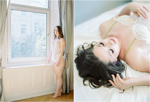 Diptych: girl standing beside a window (left), girl lying down on the bed (right)