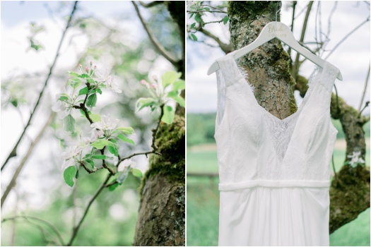 Diptych: left - spring flowers; right - wedding dress on a tree