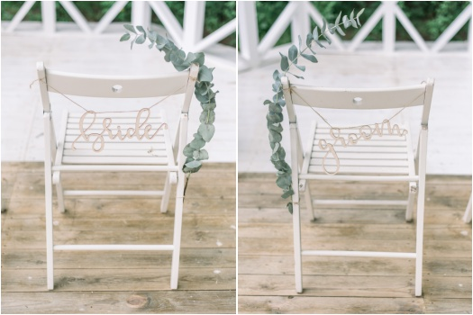 Bride and groom ceremony chairs.
