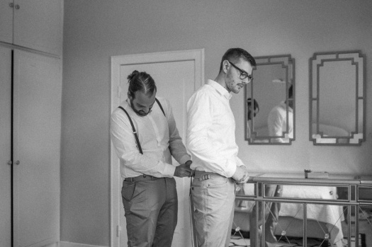 Groom getting ready with his best man