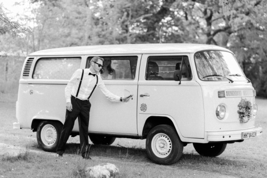 Cool vintage VW van as bridal car