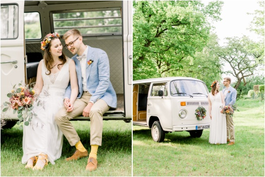 Bride and groom portraits with a VW vintage minibus