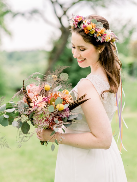 Boho chic bridal portrait