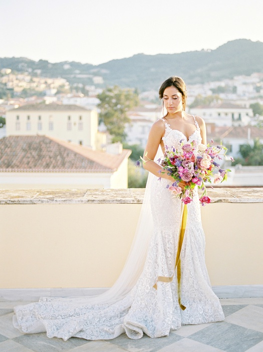 Bridal portrait in Poseidonion Grand Hotel in Spetses Island, Greece