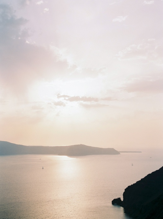 Sunset in Santorini Greece taken on film