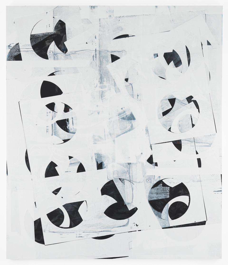 Composite 10 (pivot white), 2016  Acrylic, and oil on wood  77 x 66 inches  195.6 x 167.6 cm