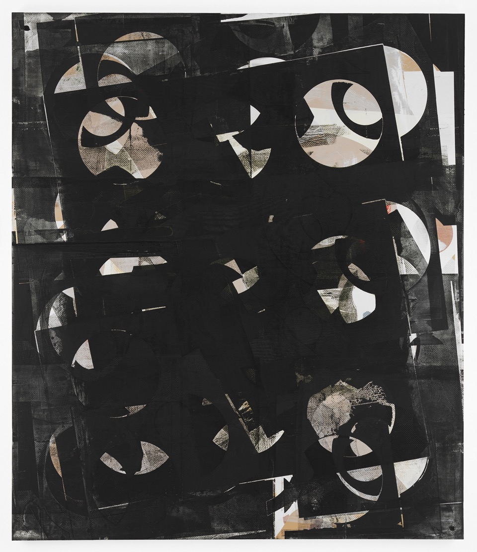 Composite 11 (pivot black), 2016  Acrylic, and oil on wood  77 x 66 inches  195.6 x 167.6 cm