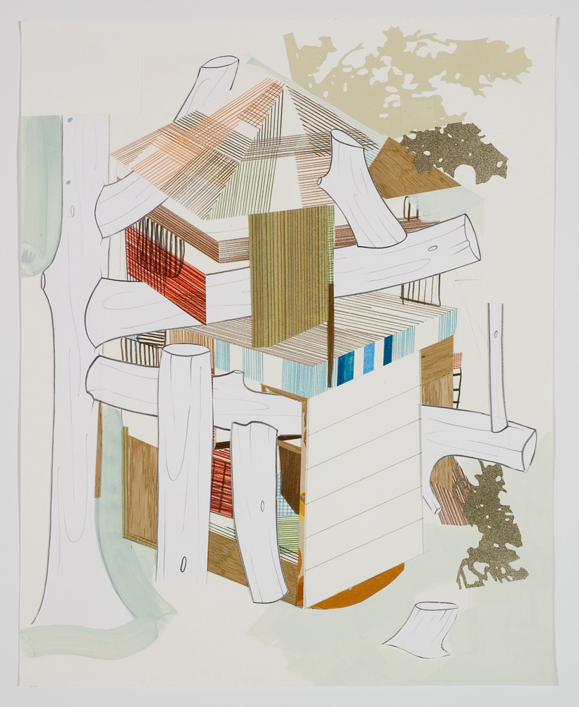 Houses & Timbers 24, 2006  Pencil, gouache and collage on paper  17 x 14 inches  43.18 x 35.56 cm