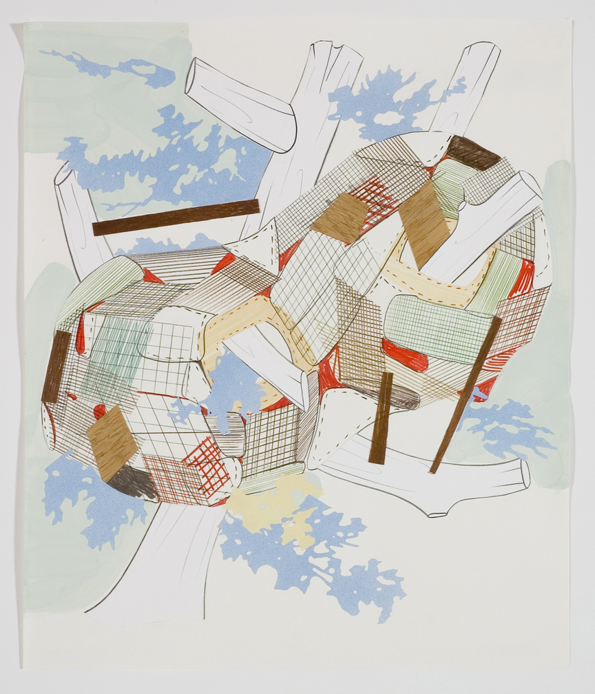 Houses & Timbers 32, 2006  Pencil, gouache and collage on paper  17 x 14 inches  43.18 x 35.56 cm