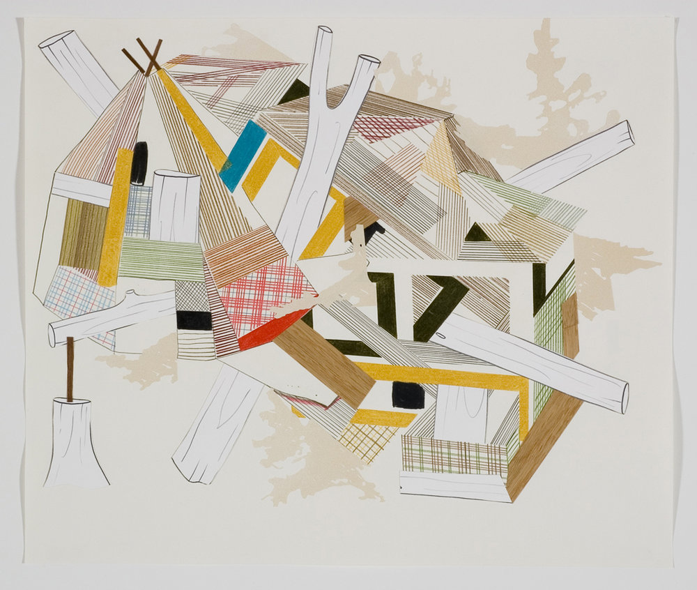 Houses & Timbers 34, 2006  Pencil, gouache and collage on paper  17 x 14 inches  43.18 x 35.56 cm