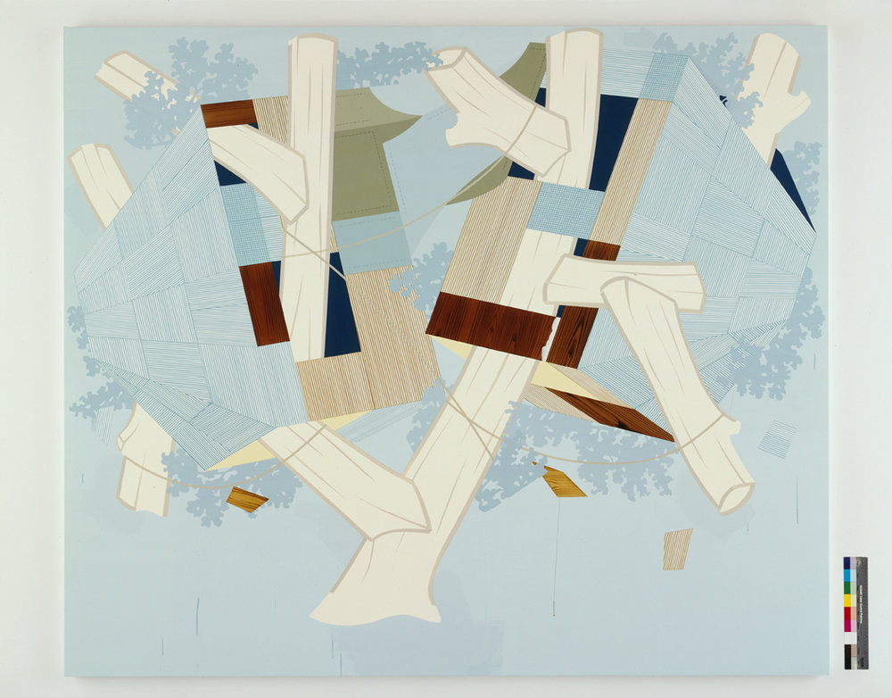 Falling Apart (Away), 2004  Acrylic on canvas over panel  80 x 94 inches  203.2 x 238.76 cm