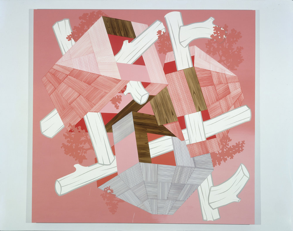 Pink Lodge, 2004  Acrylic on canvas over panel  80 x 83 inches  203.2 x 210.82 cm