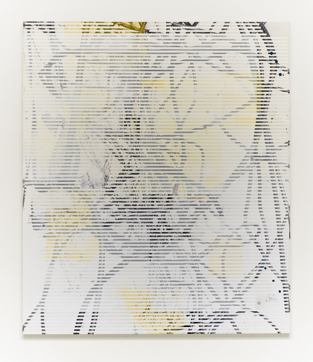 Untitled (rebar 1), 2013  Acrylic, oil and UV cured ink on canvas over panel  84 x 72 inches  213.36 x 182.88 cm