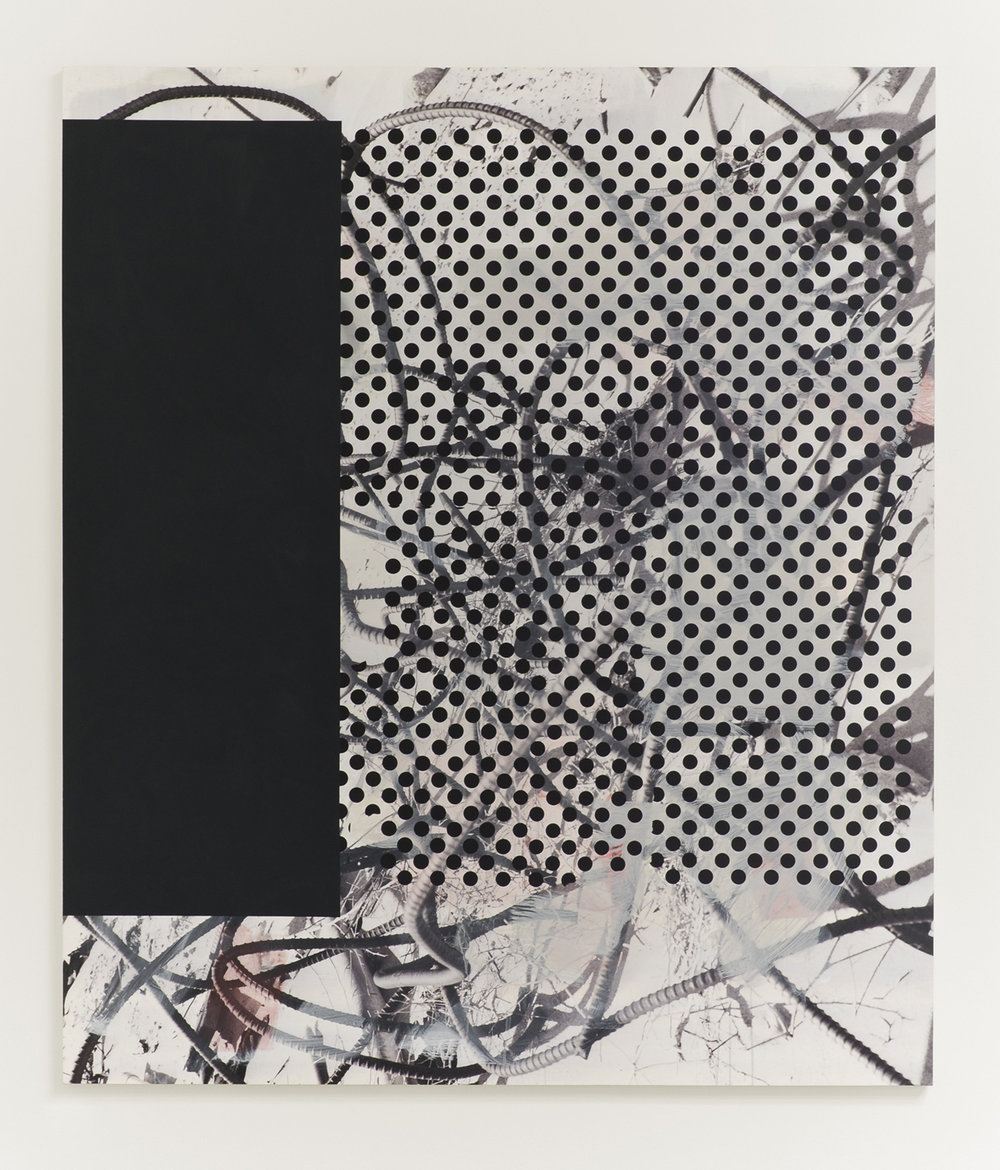 Untitled (rebar 8), 2013  Acrylic, oil and UV cured ink on canvas over panel  84 x 72 inches  213.36 x 182.88 cm