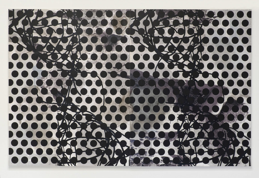 Untitled (rebar 10), 2013  Acrylic, oil and UV cured ink on canvas over panel  diptych  84 x 130 inches  213.36 x 330.2 cm