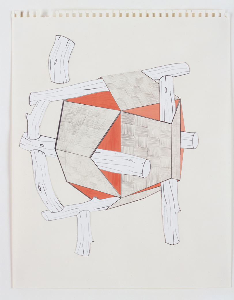 Roofs & Timbers, 2003  Pencil, gouache and collage on paper  14 x 11 inches  35.56 x 27.94 cm