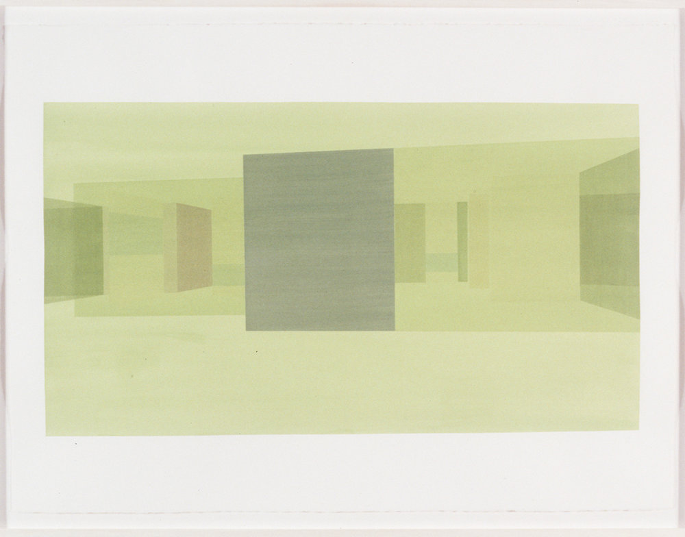 Exterior Study Front (Green), 1999  Liquid acrylic on paper  22 x 30 inches  55.88 x 76.2 cm