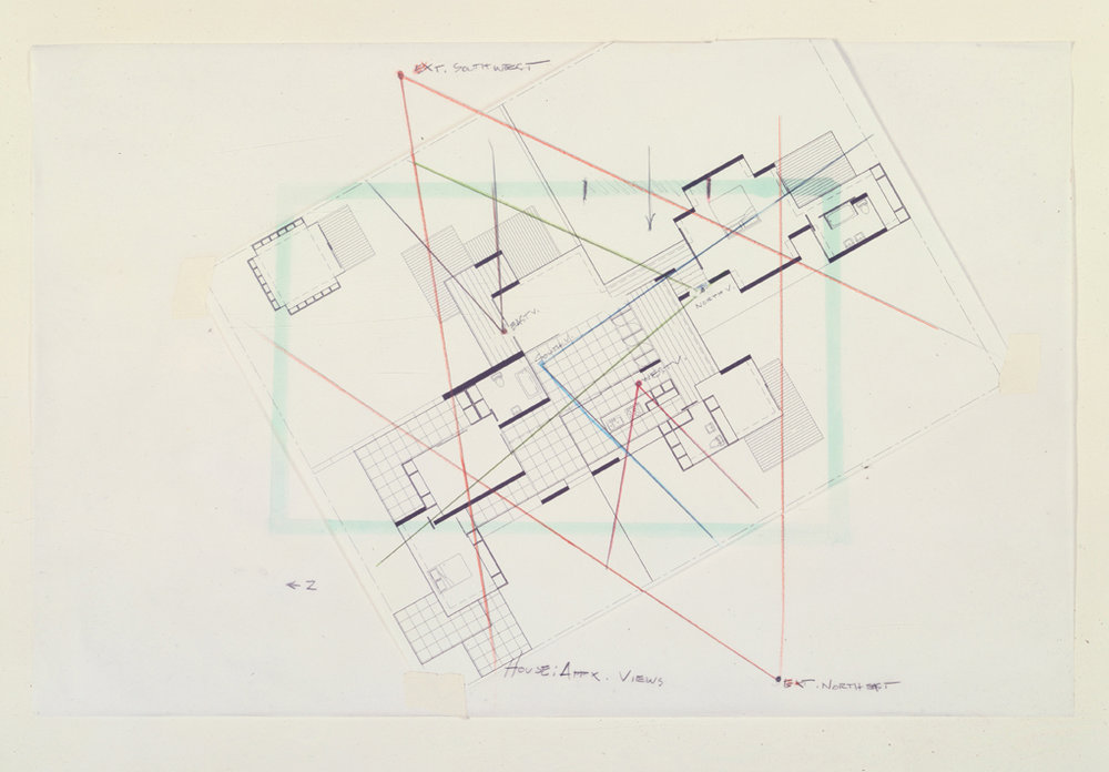 House Plan with Projected Views, 1999  Pencil on vellum  11 x 17 inches  27.94 x 43.18 cm