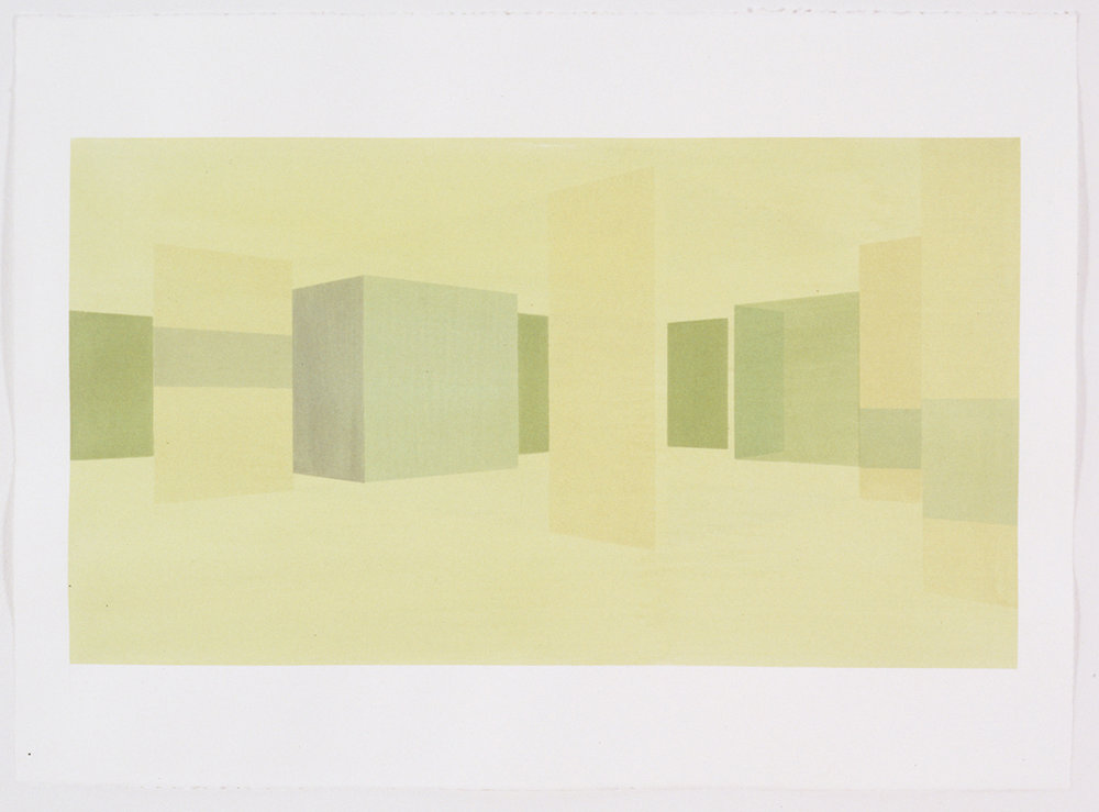 Interior Study North East (View From Entry), 1999  Liquid acrylic on paper  22 x 30 inches  55.88 x 76.2 cm