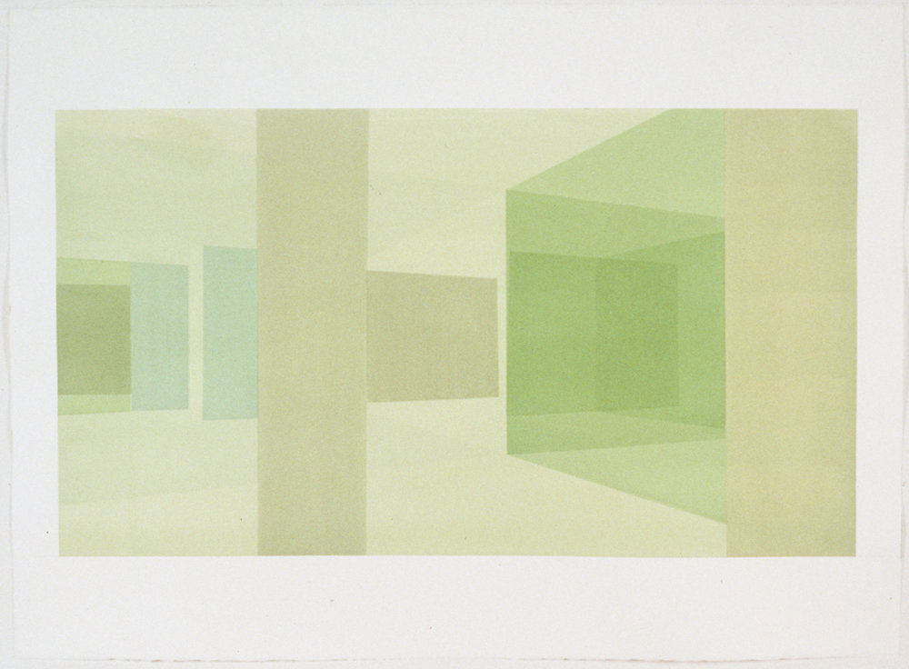 Interior Study North View, 1999  Liquid acrylic on paper  22 x 30 inches  55.88 x 76.2 cm