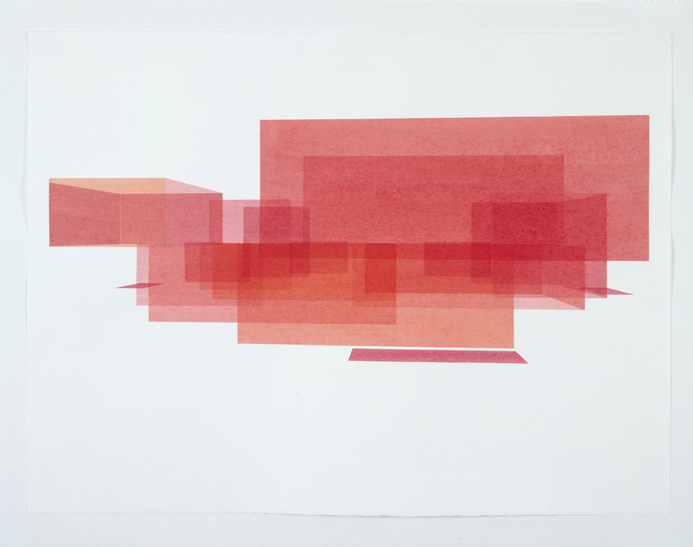 Red House Study, Exterior 6, 1999  Liquid acrylic on paper  22 x 30 inches  55.88 x 76.2 cm