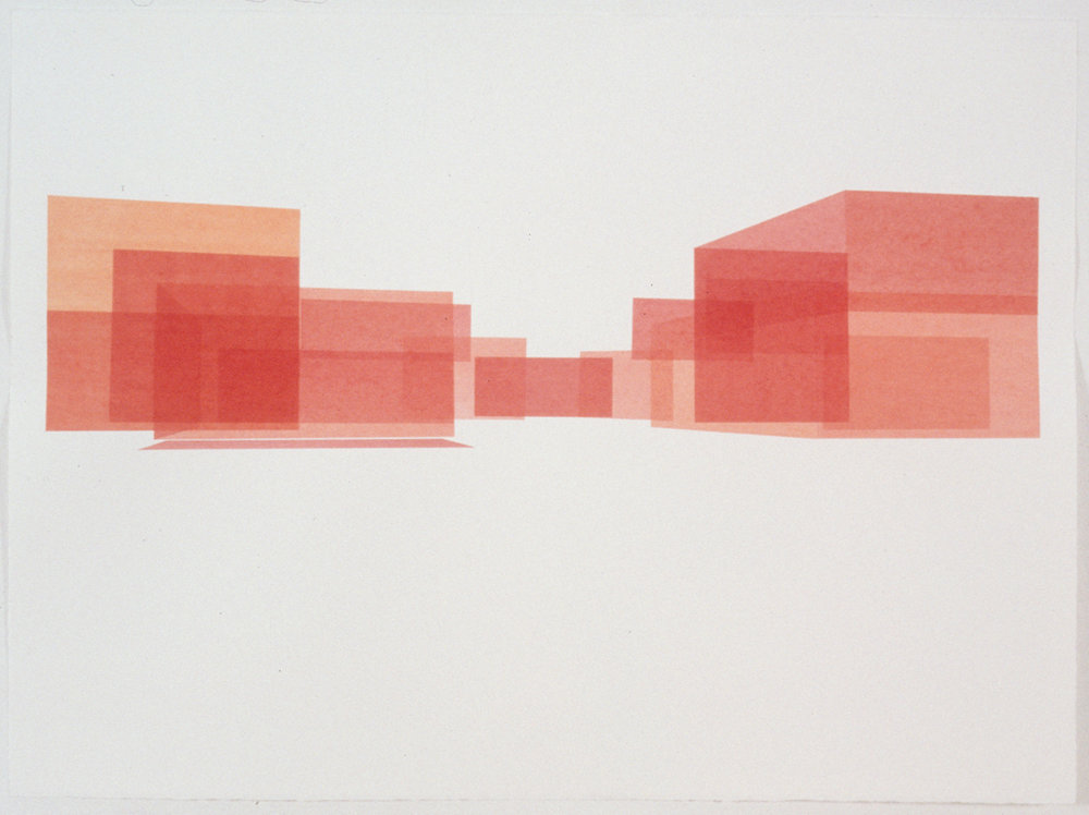 Red House Study, Exterior 2, 1999  Liquid acrylic on paper  22 x 30 inches  55.88 x 76.2 cm