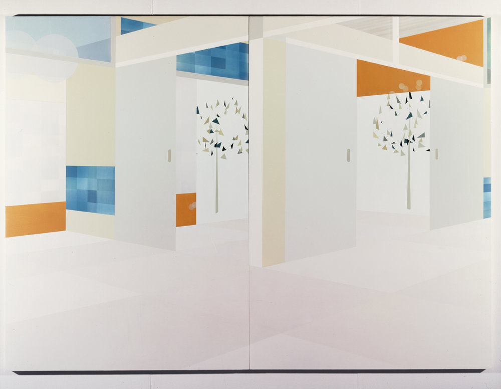 Interior View (Spring), 1998  Acrylic on canvas over panel  82 x 112 inches  208.28 x 284.48 cm