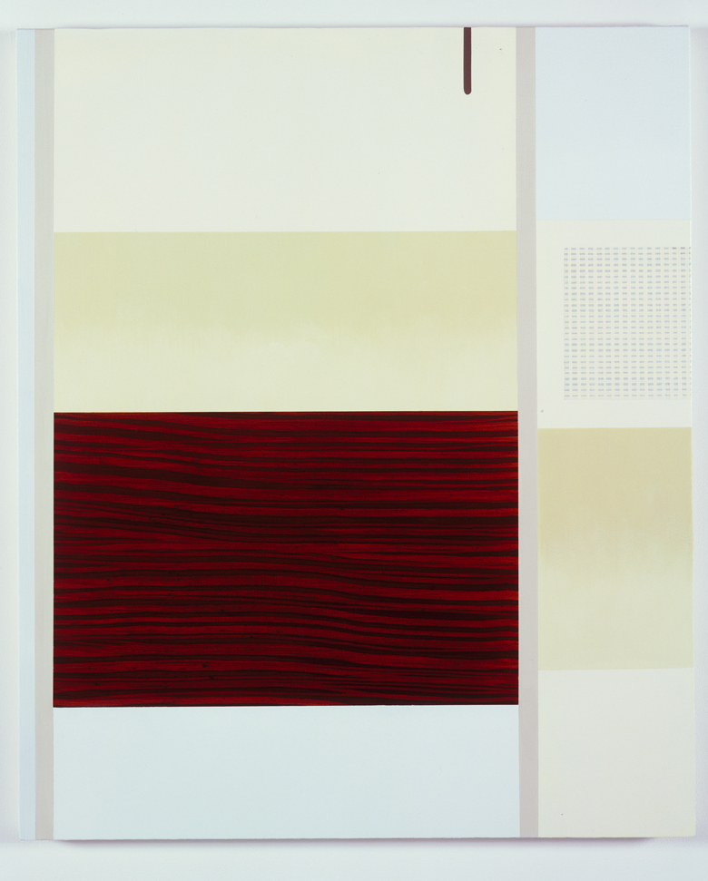 Storage System on Two-Toned Wall, 1997  Oil and acrylic on canvas over panel  36 x 30 inches  91.44 x 76.2 cm