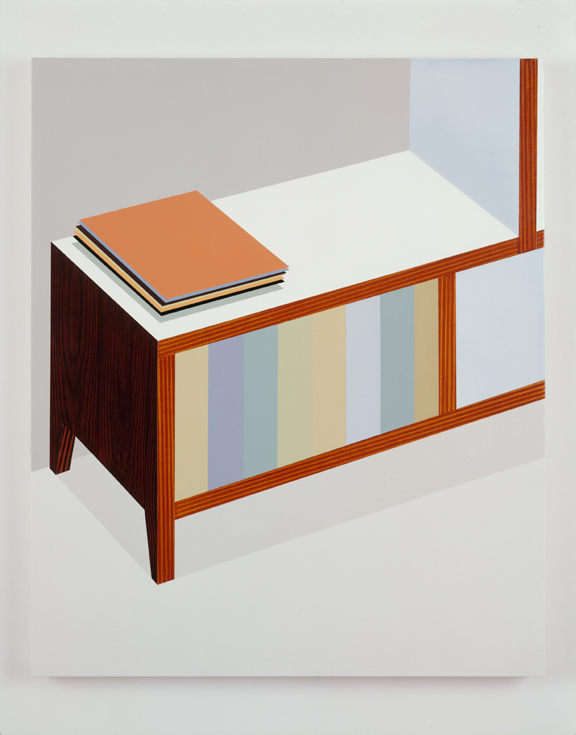 Storage Unit with Magazines, 1997  Oil and acrylic on canvas over panel  36 x 30 inches  91.44 x 76.2 cm