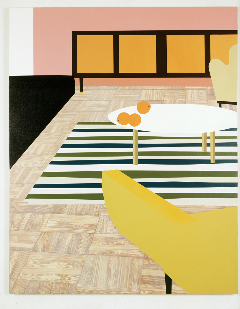 A Living Room with Oranges, 1996  Oil and acrylic on canvas over panel  65 x 52 inches  165.1 x 132.08 cm