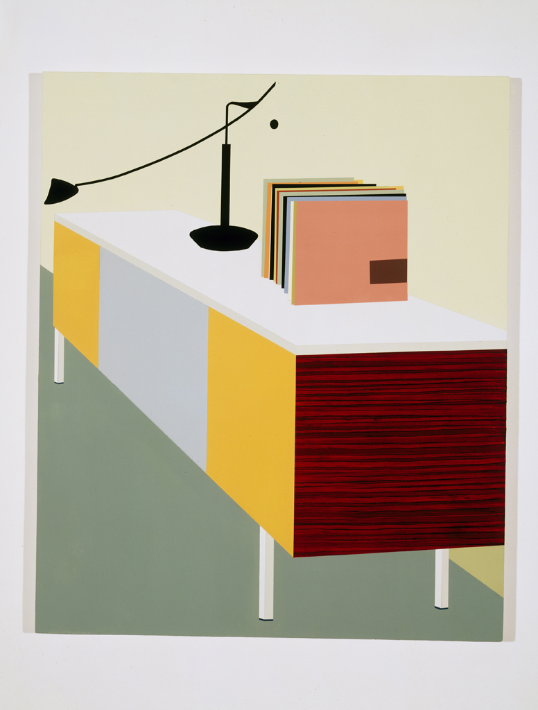 Console with Records, 1996  Oil and acrylic on canvas over panel  48 x 40 inches  121.92 x 101.6 cm