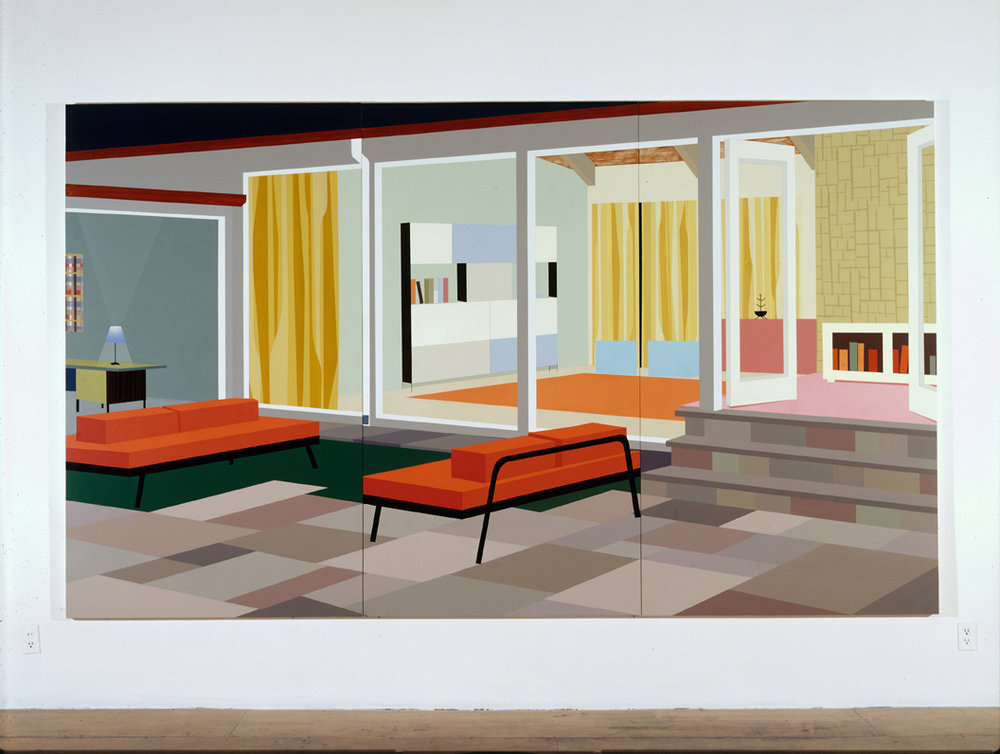 Indoor/Outdoor Living, 1996  Oil and acrylic on canvas over panel  82 x 138-3/4 inches  208.28 x 352.43 cm