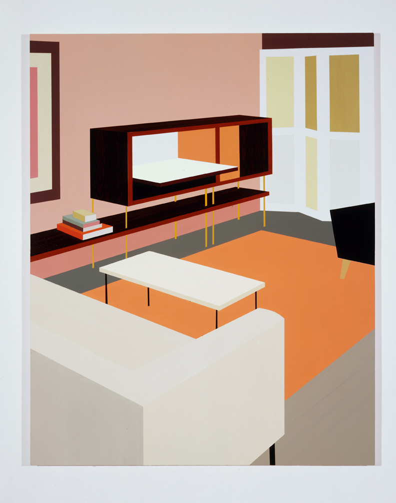 Den with Storage Unit, 1996  Oil and acrylic on canvas over panel  65 x 52 inches  165.1 x 132.08 cm