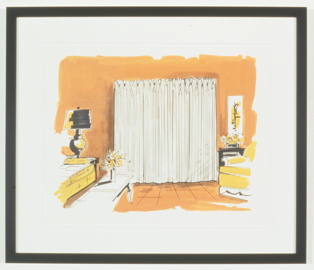 Untitled Interior Sketch 6, 1995  Gouache and marker on paper  14 x 17 inches  35.56 x 43.18 cm