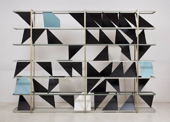 Untitled (screen), 2011  Powder coated steel, brass plated steel and enamel  84 x 120 x 12 inches  213.36 x 304.8 x 30.48 cm