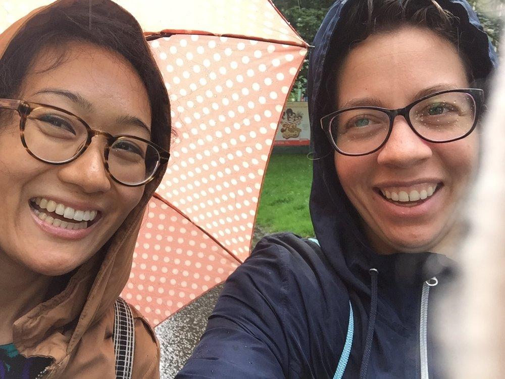 Arun and Dara flyering in a rain shower.